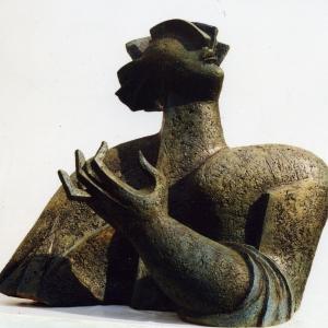 Н.Н.Вяткина. Поэт (Николай Рубцов).2001. Шамот. 70х50х47.