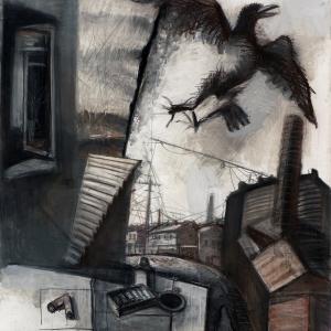 Д.Е.Иконников (1952-2019).  Прерванный полет. 2015. Бумага, соус. 130х120.
