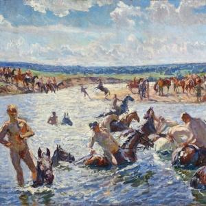 Купание коней. Эскиз. 1937 г. х.м.