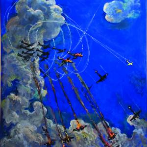 Владимир Переяславец. Воздушный бой (Один против двадцати). 2009. Холст, масло.