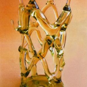 А.Я.Степанова (1927-20019). Хоровод.1986. Цветное стекло.Гутная техника.