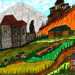 В.Окиташвили. Село в горах.