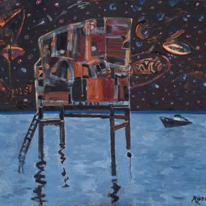 М.Амиров. Ночь на Каспии. 2015 Холст, акрил 150х170 см