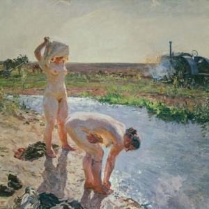 Трактористки. 1943 - 44 гг.  х.м.