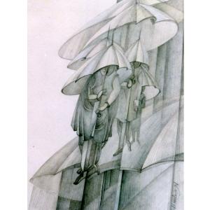 Н.Н.Вяткина. Дождь в городе. 1996. Бумага, карандаш. 40х30
