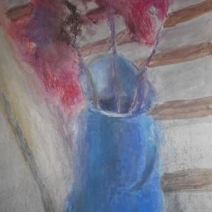 М.М.Мечев (1929-2018). Цветы в синем кувшине.Бумага, пастель, 43х31, 2015.