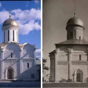 Троицкий собор 1422 г. Современный вид и фото до реставрации 1960-х годов.