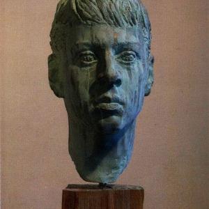 В.В.Тишин.(1963-2015).Портрет О.Слепова. 20013. Гипс тонир.55х30х24