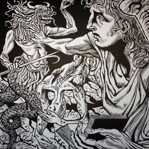 М.Верхоланцев. Гравюра «Добро и зло». Репродукция из книги художника «Добродетели и пороки»
