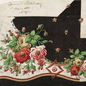 Постигов С.В. Платочный рисунок (крок). 1884 г. Собрание «Павловопосадской платочной мануфактуры»