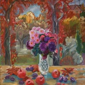 Т.И. Рыжова. Натюрморт.Астры и яблоки. Холст,масло. 90х80. 2008