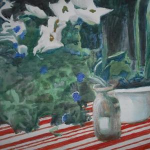 М.М.Мечев (1929-2018). Букет белых лилий и петуний.2014. Холст, смешанная техника,40х50.