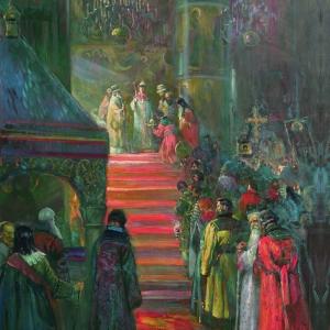 Венчание на царство М.Ф. Романова в Успенском соборе Московского Кремля 11 июля 1613 года. 2013. Х.,м., 150х100см