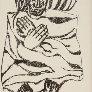 З,К,Церетели. Из серии «Листы из альбома». 1990-е-2000-е гг.Бумага, чёрно-белая шелкография.50х36.