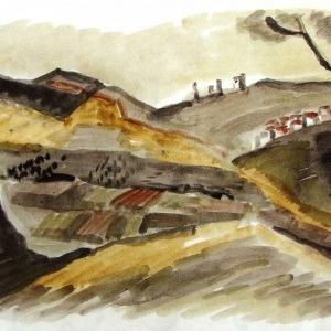 Э.А.Жаренова. Святая земля .2000.Б.,акв..40х80