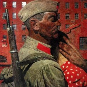 Г.М.Коржев (1925-2012). Проводы. Из триптиха «Опаленные огнем войны». 1967