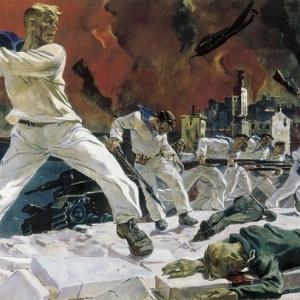 Александр Дейнека. Оборона Севастополя. 1942. Холст, масло.