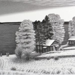 В.В.Дранишников (1936-2019). Ферапонтово У Бородавского озера. Первый снег