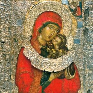 Праведная Анна с младенцем Марией. Фрагмент иконы. Конец XIV в.