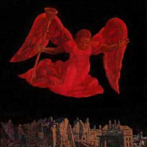 Г.С.Мызников.Красный ангел. 2005.  Холст, темпера, масло  150х150 Государственный музейно-выставочный центр «РОСИЗО»