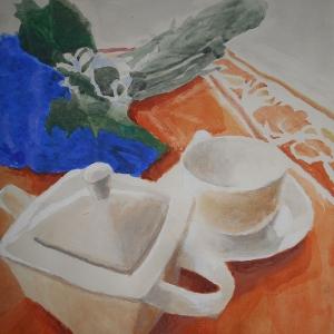 М.М.Мечев (1929-2018). Радостный натюрморт. 2010. Бумага, акварель. 30х55.