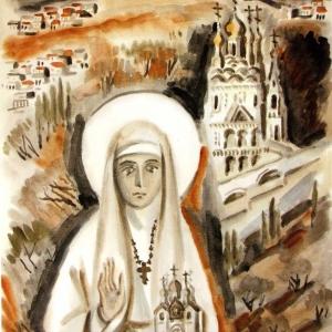 Э.А.Жаренова. Св.Елизавета Федоровна.2000.Б.,акв.,75х55