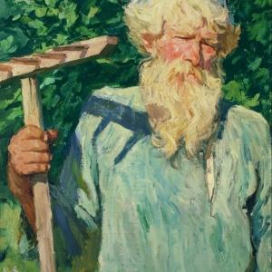 Пётр Григорьевич Черняев (с граблями). 1948-49 гг. х.м.
