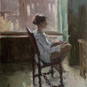 А.Соколова Портрет сестры. 1990 г. х., м. 169х129 см.