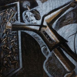 М.Амиров. Художник.  2015. Крафт-бумага, пастель, уголь 120х120 см