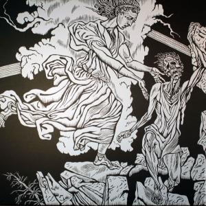 М. Верхоланцев. Гравюра «Милосердие». Репродукция из книги художника «Добродетели и пороки»