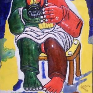 З.К.Церетели. Сыровар, играющий на гармошке..2004.Эмаль