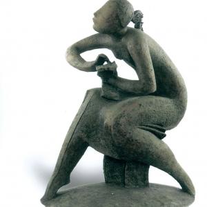 Н.Н.Вяткина.Кружевница. 2010. Шамот. 70х57х33