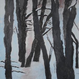 М.М.Мечев (1929-2018).Три петербургские вороны. Картон, смеш.техника,, 68х38, 2016.