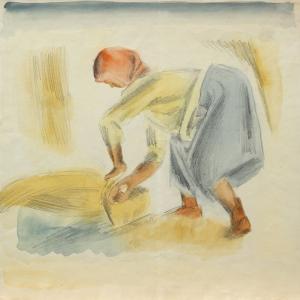 А.Ф. Пахомов. Жатва. 1928. Бумага, акварель, карандаш