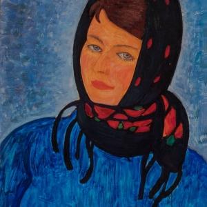 Г.С.Мызников. Девушка из Подмосковья. 1964. Картон, темпера. 70х50